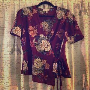 Monteau wrap blouse top w/ peplum ruffle